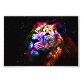 Space lion - colorful lion - lion art - big cats photo print