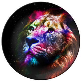 Space lion - colorful lion - lion art - big cats plate