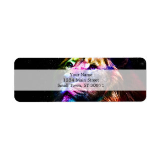 Space lion - colorful lion - lion art - big cats return address label