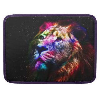 Space lion - colorful lion - lion art - big cats sleeves for MacBook pro