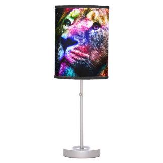 Space lion - colorful lion - lion art - big cats table lamp
