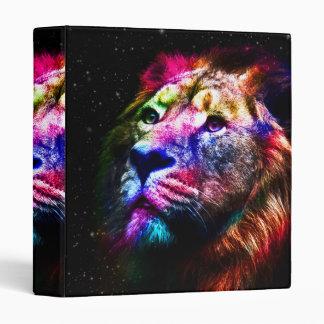 Space lion - colorful lion - lion art - big cats vinyl binder