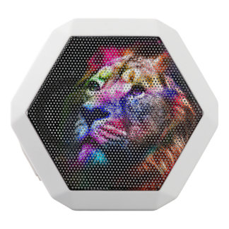 Space lion - colorful lion - lion art - big cats white bluetooth speaker