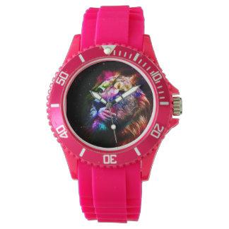 Space lion - colorful lion - lion art - big cats wrist watch