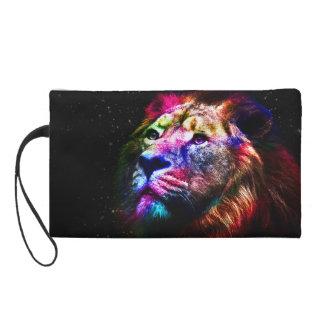 Space lion - colorful lion - lion art - big cats wristlet