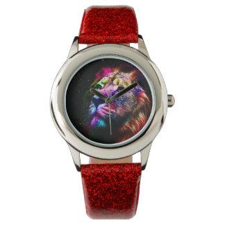 Space lion - colorful lion - lion art - big cats wristwatch