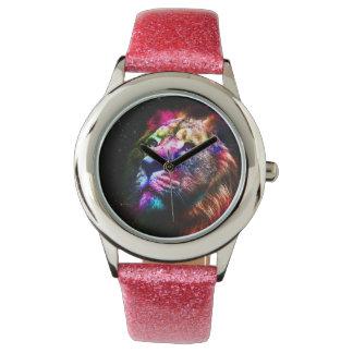 Space lion - colorful lion - lion art - big cats wristwatches