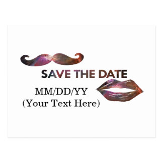 Space Lips and Moustache Save the Date Postcard