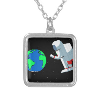 Space Man Silver Plated Necklace