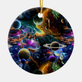 Space Nebula and Planets Ceramic Ornament
