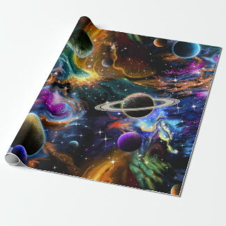 Space Nebula and Planets Wrapping Paper