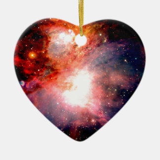 Space Nebula Ceramic Heart Ornament