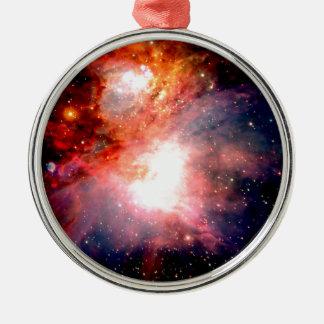 Space Nebula Silver-Colored Round Ornament