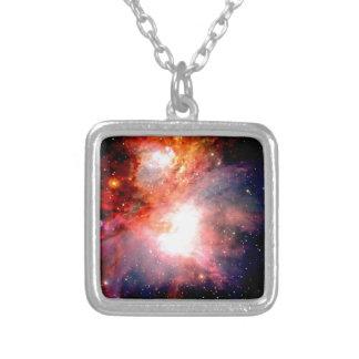 Space Nebula Silver Plated Necklace