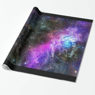 Space Nebula Wrapping Paper with Black Border