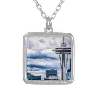 space needle seattle washington silver plated necklace