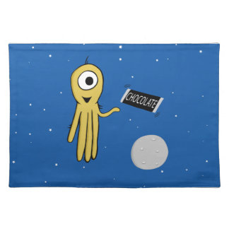 Space octopus with candy bar place mat
