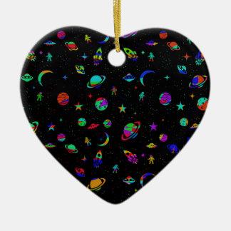 Space pattern ceramic heart ornament