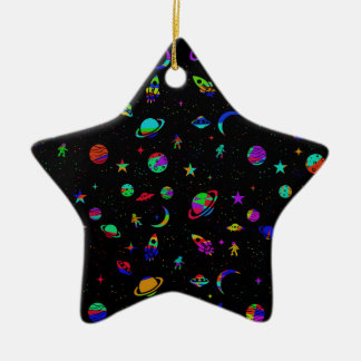 Space pattern ceramic star ornament