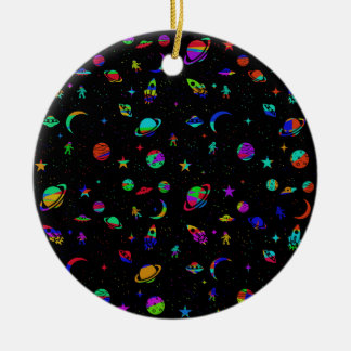 Space pattern round ceramic ornament