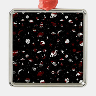 Space pattern Silver-Colored square ornament