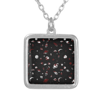 Space pattern silver plated necklace