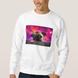 space pug - pug food - pug cookie sweatshirt