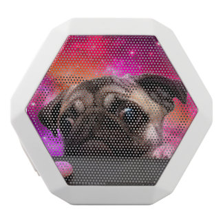 space pug - pug food - pug cookie white bluetooth speaker