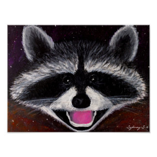 Space Racoon Poster