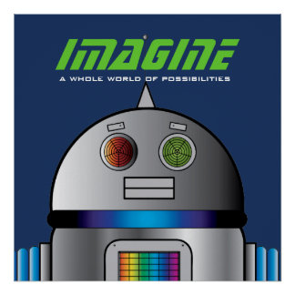 space ROBOT personalized kids room art poster