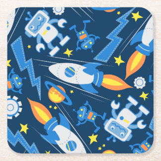 Space robot square paper coaster