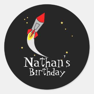 space rocket BIRTHDAY PARTY keepsake label