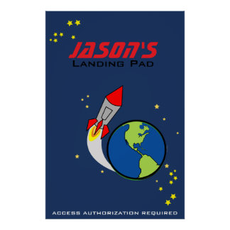 space ROCKET personalized kid's room art poster