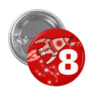 Space rocket red boys age button
