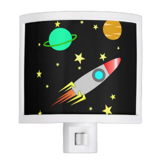Space Rocket Stars Moon Planet Night Light