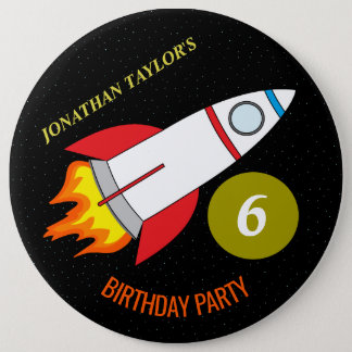 Space Rocket to the Moon Children's Birthday 6 Inch Round Button