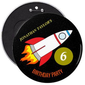 Space Rocket to the Moon Children's Birthday 6 Inch Round Button