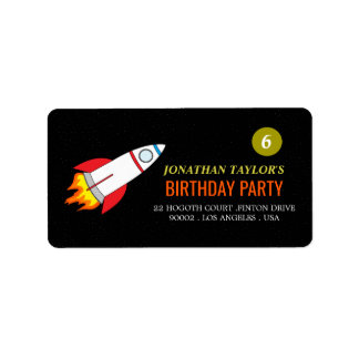 Space Rocket to the Moon Children's Birthday Label