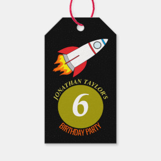Space Rocket to the Moon Children's Birthday Pack Of Gift Tags