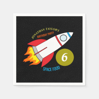 Space Rocket to the Moon Children's Birthday Paper Napkin