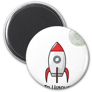 Space ship and Planet 2 Inch Round Magnet