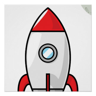 Space ship and Planet Perfect Poster