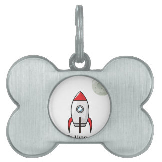 Space ship and Planet Pet Tag