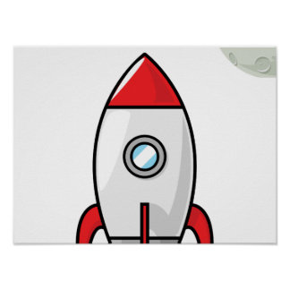 Space ship and Planet Poster
