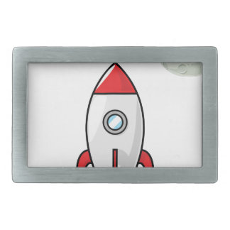 Space ship and Planet Rectangular Belt Buckles