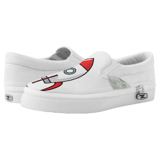 Space ship and Planet Slip-On Sneakers