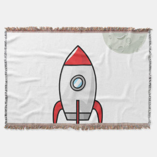 Space ship and Planet Throw Blanket