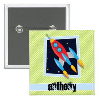Space Ship; Lime Green & White Stripes 2 Inch Square Button