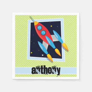 Space Ship; Lime Green & White Stripes Disposable Napkin