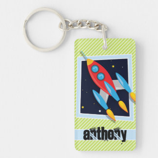 Space Ship; Lime Green & White Stripes Single-Sided Rectangular Acrylic Keychain